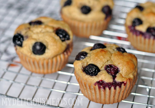Healthy Blueberry Pecan Muffins