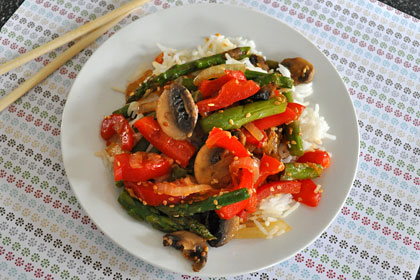 Asparagus, Mushrooms and Pepper Stir-Fry