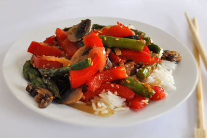 Asparagus, Mushrooms and Pepper Stir-Fry photo instruction 4