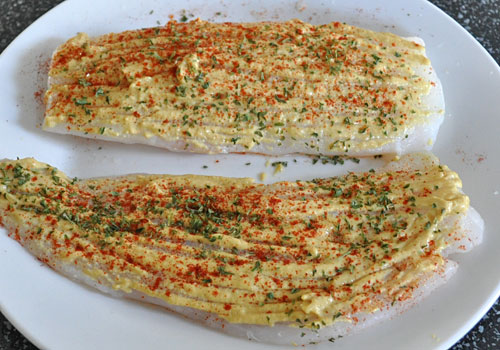 Baked Cod with Mustard and Paprika photo instruction 1