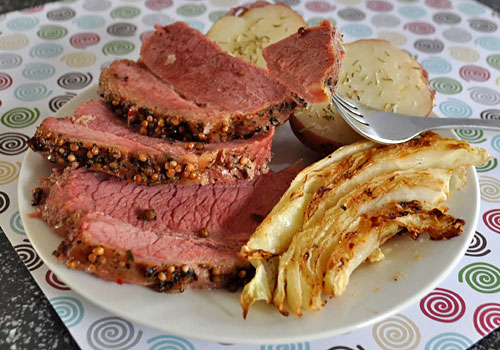 Baked Corned Beef with Potatoes and Cabbage