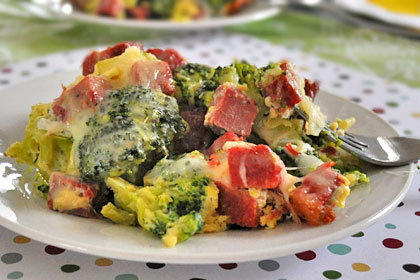 Broccoli Baked with Ham and Cheese