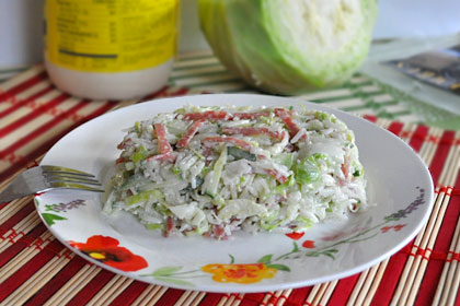 Cabbage Salad with Rice and Salami