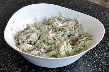 Cabbage Salad with Rice and Salami photo instruction 3