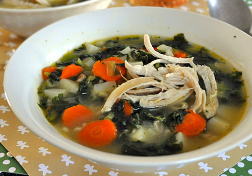 Chicken Barley Soup with Kale