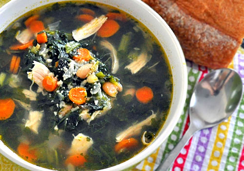Chicken Soup with White Beans and Kale
