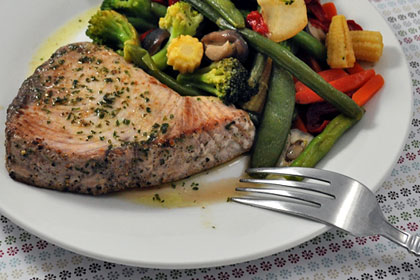 Tuna Steaks with Lemon-Parsley Butter