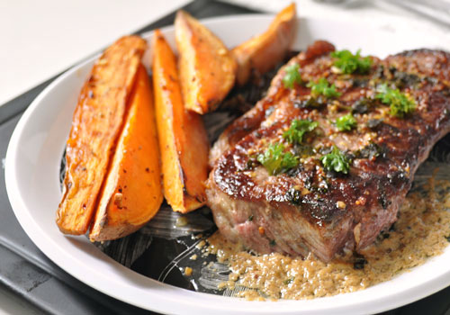 Steak with Creamy Mustard Sauce