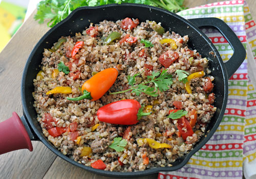 Tasty Cauliflower Rice and Ground Beef Skillet